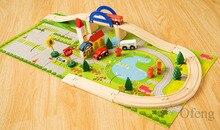 40 adet/takım DIY ahşap şehir tren parça yapı taşları oyuncak bebek monte trafik Diecasts ve oyuncak araçlar için noel hediyeleri çocuklar