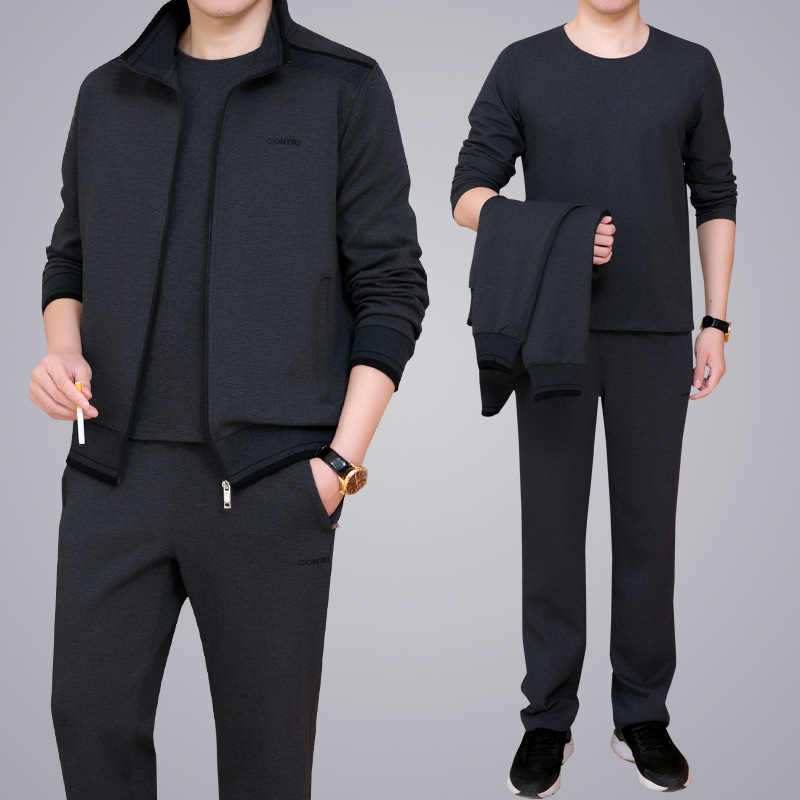 Leisure Suit Men Autumn & Winter Sports Large Size Daddy Clothes Three-piece Set Middle-aged Sports Clothing Set MEN'S Outerwear