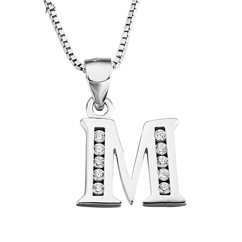 26 Letter Necklace 925 Sterling Silver Jewelry English Letters Set Zircon Pendant Necklace For Women Trend Party Jewelr Gift