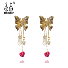 DREJEW Butterfly Long Tassel Rhinestone Statement Earrings 2019 925 Alloy Drop for Women Wedding Fashion Jewelry HE0641