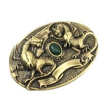 Two Western & Jade Mens Belt Buckle Vintage Pure Brass Cowboy Fashion Accessory