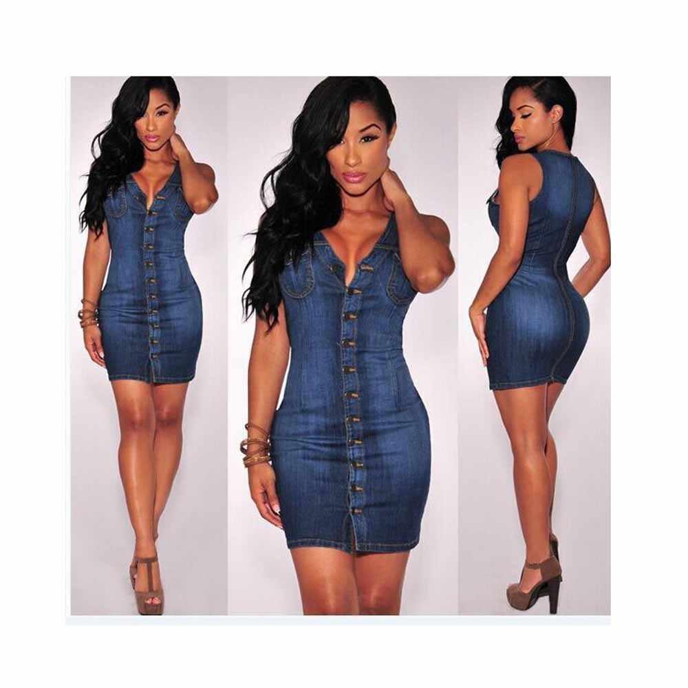 Femmes Denim bouton Mini robe moulante mince Club fête Jean Vestidos YFX547