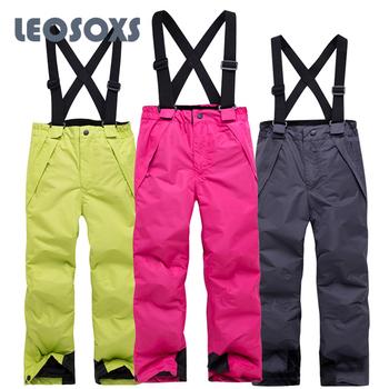 LEOSOXS dziecięce spodnie narciarskie 2020 zimowe wiatroszczelne wodoodporne spodnie narciarskie alpejskie spodnie snowboardowe ciepłe oddychające spodnie śnieżne tanie i dobre opinie CN (pochodzenie) Dobrze pasuje do rozmiaru wybierz swój normalny rozmiar Oxford na zamek błyskawiczny COTTON girls boys