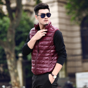Image 5 - 2019 New Winter White Goose Down Vest For Men Autumn Warm Casual Sleeveless Jacket Male Light Black Stand Collar Coat Mens WFY09