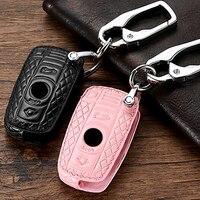 Genuine Leather Case Capa Chave Para BMW F20 G30 F30 F31 F10 X5 M F25 E90 E60 E70 E87 3 5 6 Série M3 M5 X1 X5 X6 Z4 Tampa Da Chave Estojo de chaves p/ carro     -