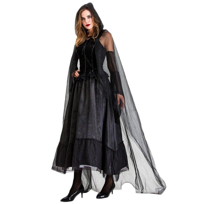 Костюм на Хэллоуин для женщин, костюм ведьмы, длинное платье, платье невесты призрака, костюм вампира, костюм ведьмы, черный, 2XL