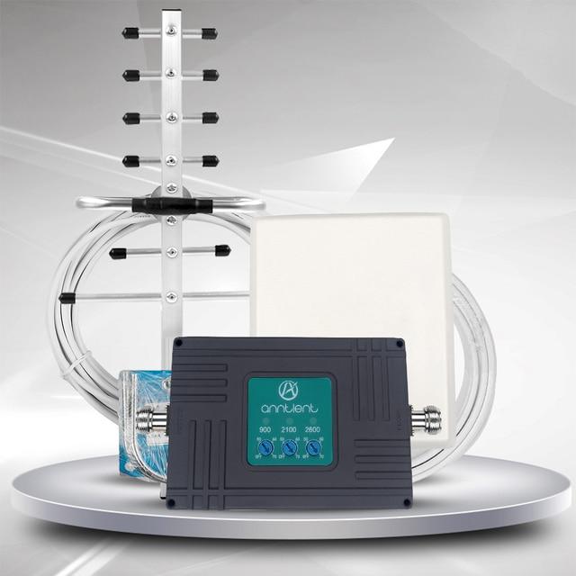 Hücresel amplifikatör GSM tekrarlayıcı 3G 4G LTE 2600mhz cep telefonu sinyal güçlendirici 2G GSM 900/2100MHz tekrarlayıcı 70dB Band 7,8 1 + anten
