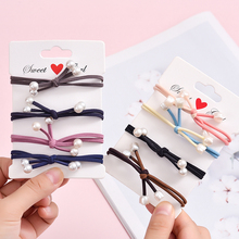 Sempli Nylon Elásticos Handmade Arco Faixas de Cabelo Para As Mulheres Dupla Pérola Bonito Borracha apertado Headwear