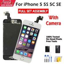 כיתה AAA תצוגה עבור iPhone 5 5S 5C SE LCD מסך מגע עצרת Digitizer החלפת סט מלא שיבוט מודול מצלמה + לחצן בית