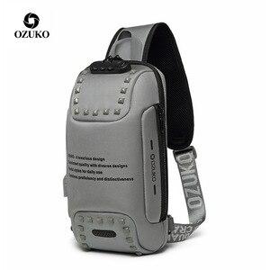Image 1 - Brand Sling Waterproof Rivet Men Chest Bags Anti Theft Password Lock USB Charging Port Women Shoulder Bag Reflective