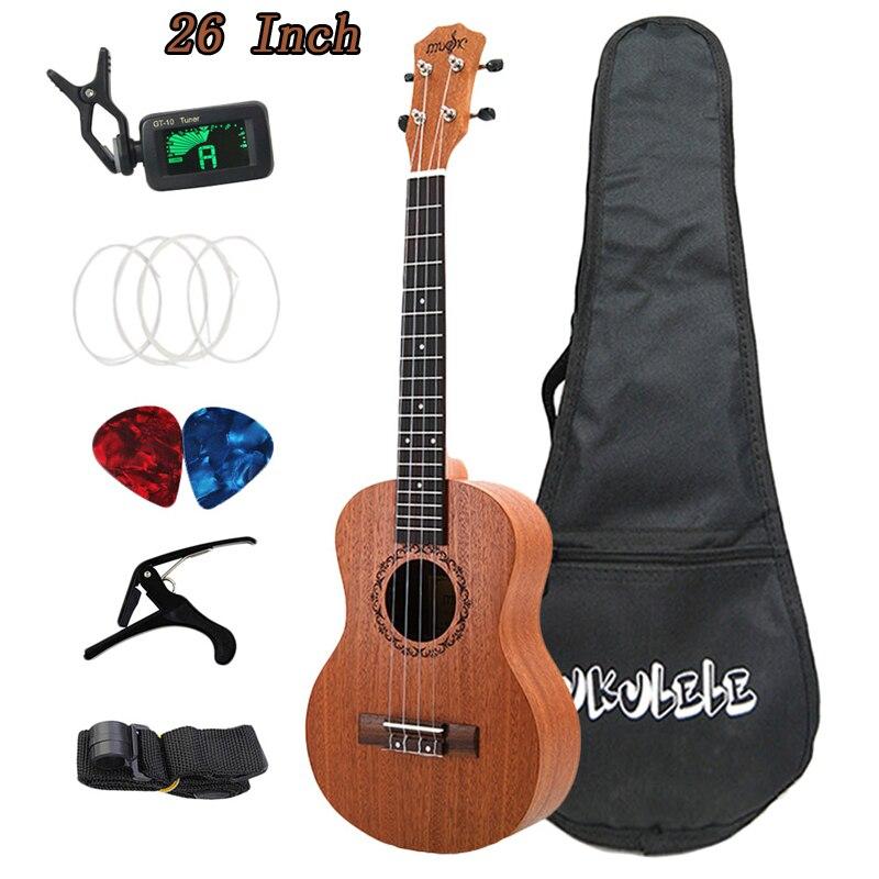26 Inch Ukulele Set 19 Fret Tenor Sapele Acoustic Guitaar Beginner Guitars Hawaii 4 String Full Kits Ukulele Guitar For Beginner