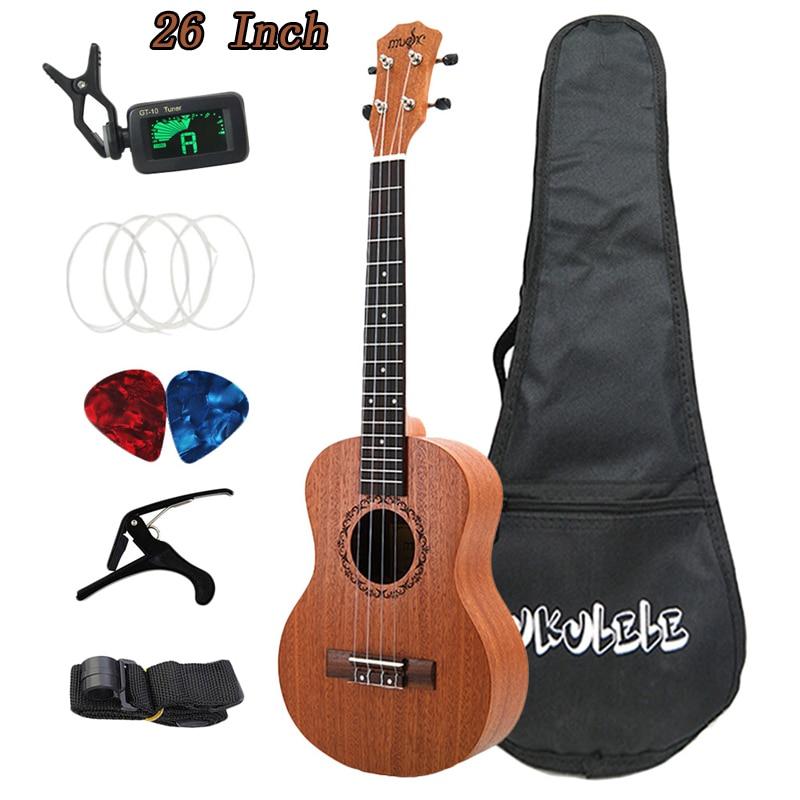 26 Inch Ukulele Tenor Sapele Acoustic Guitaar Beginner Guitars Mini Hawaii Full Kits Ukulele Guitar For Beginner Kids