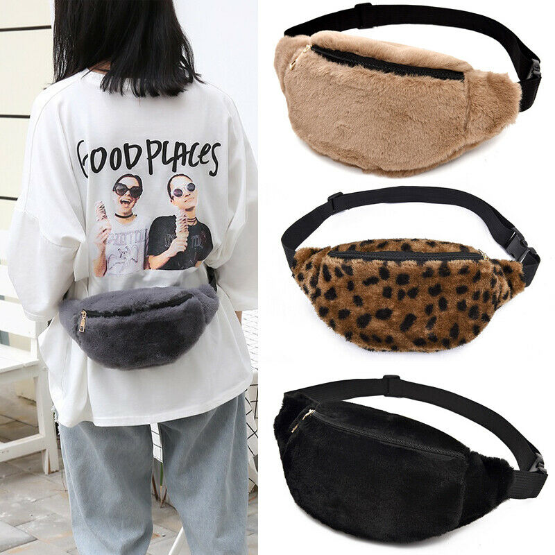 Women Waist Bag Fanny Pack Running Zip Leopard Furry Cotton Blend Belt Money Pouch Travel Holiday Bag  Hip Purse Satchel