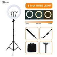 18inch Selfie Ring Light with Stand LED Ring Light for Video Make up Vlog Ring Lamp Including 3 Phone Holder USB & Power Plug