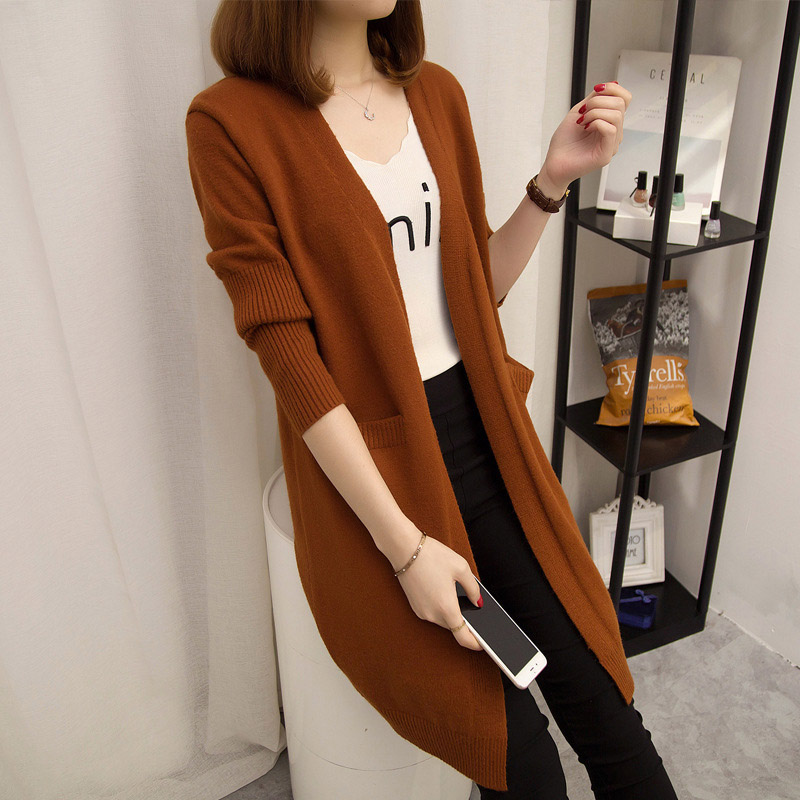NORMOV Autumn Winter Long Cardigan Sweater Women Cashmere Solid Knit Long Sleeve Loose Sweater Cashmere Female Pockets Elegant
