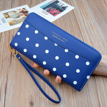 Woman's wallet Long Zipper flower Brand Leather Coin Purses White dots Clutch Wallets Female Money Bag Credit Card Holder 402