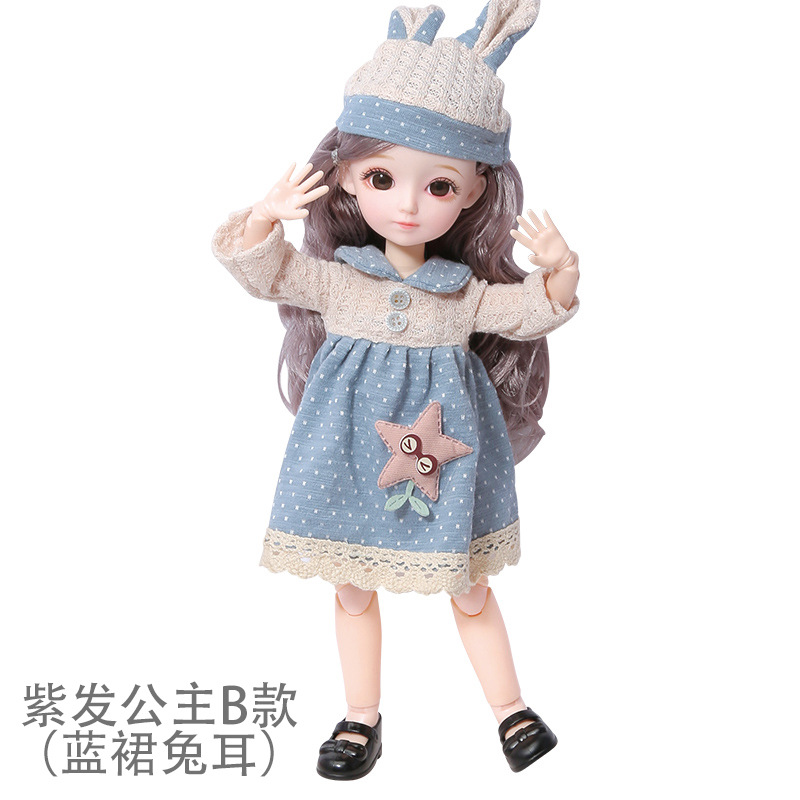 16cm/31cm Bjd Doll 12 Moveable Joints 1/12 Girls Dress 3D Eyes Toy with Clothes Shoes Kids Toys for Girls Children Birthday Gift 13