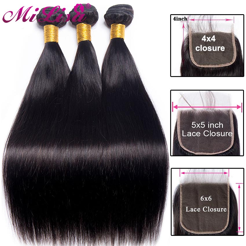 Hf48cce93cce44065bf068f26f9610c00j 10 -30 inch Bundles With Closure Malaysian Straight Hair 3 Bundles With 5x5 Closure Remy Human Hair Bundle with 6x6 Lace Closure