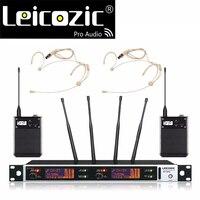Leicozic professionnel sans fil microfone véritable diversité étape système de microphone sans fil micro sans fil ensemble de têtes microphone uhf mic