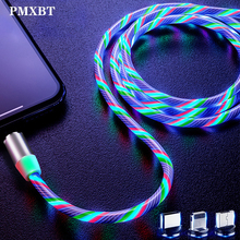Magnetic Flowing LED Light Cable 2.4A Fast Charging Magnet Micro USB Type C Led Cord Type-C Charger For iPhone Samsung S10