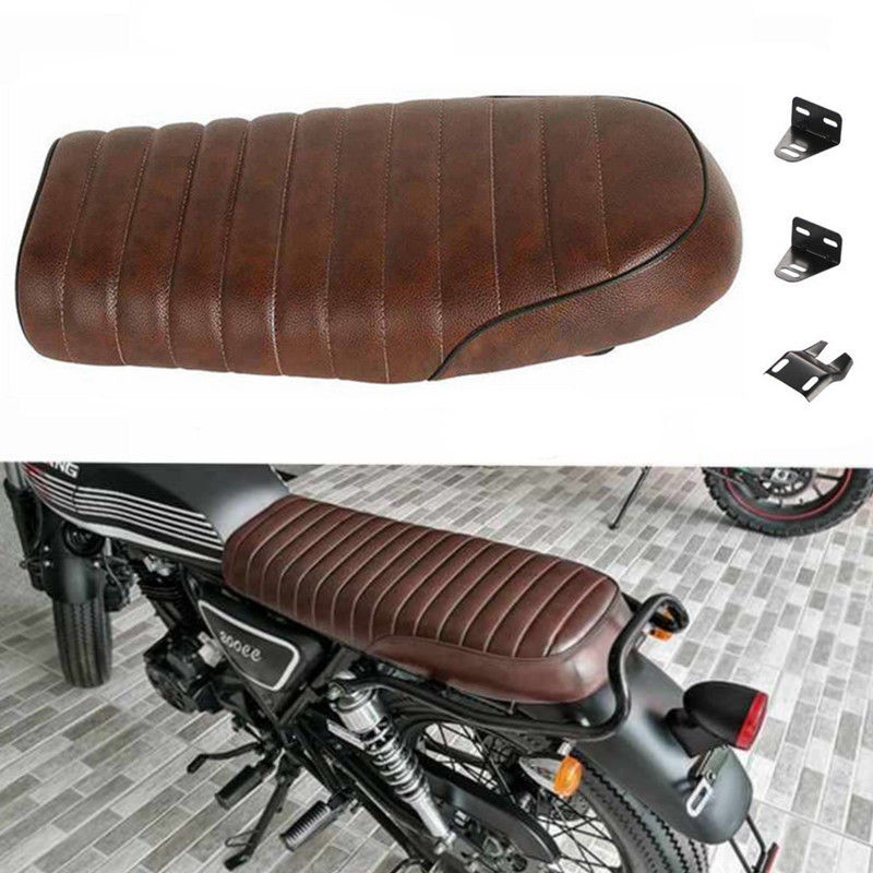Universal Motorcycle Brown Hump Seat Cafe Racer Vintage Cushion Flat Brat Saddle For Honda CB CL For Yamaha XJ