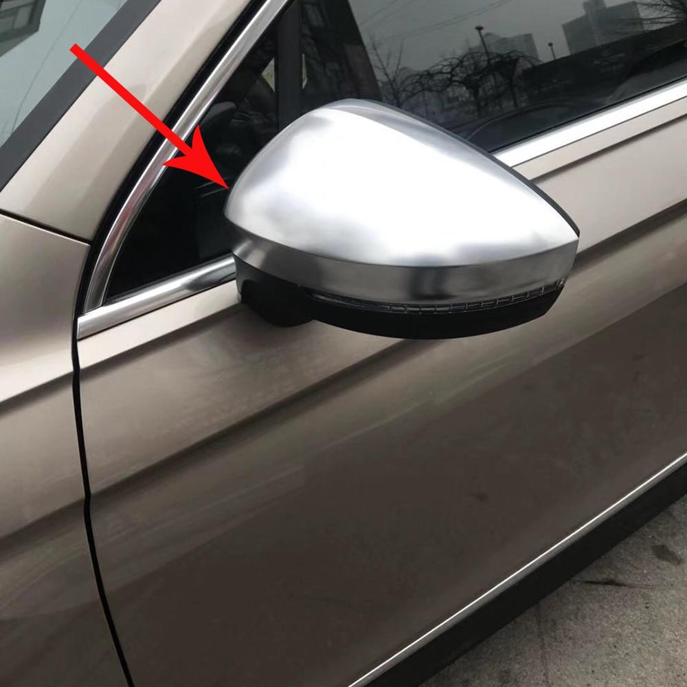 2pcs Side Mirror Case Chrome Matt Door Wing Mirror Cover Cap Shell Housing For VW Volkswagen Tiguan 2017 2018