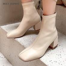 2020 Spring/Autumn New Square Toe Women Ankle Boots Chunky High Heel Elastic Boot Female Slim Fit Sock Boots Fashion Botas Mujer new arrival fashion ankle pointed toe square heel boot for woman in spring and autumn big size 35 42