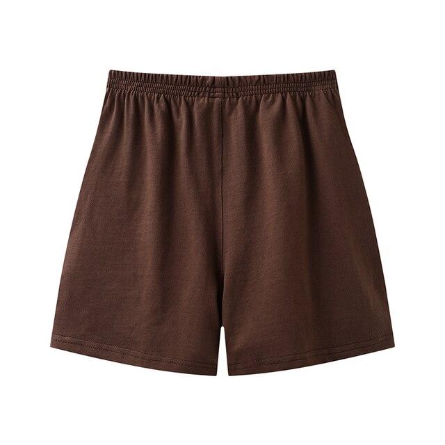 PUWD Slim Girls Soft Cotton Shorts 2021 Summer Fashion Ladies Brown Joggers Shorts Vintage Women Chic Bottoms Sweet 2