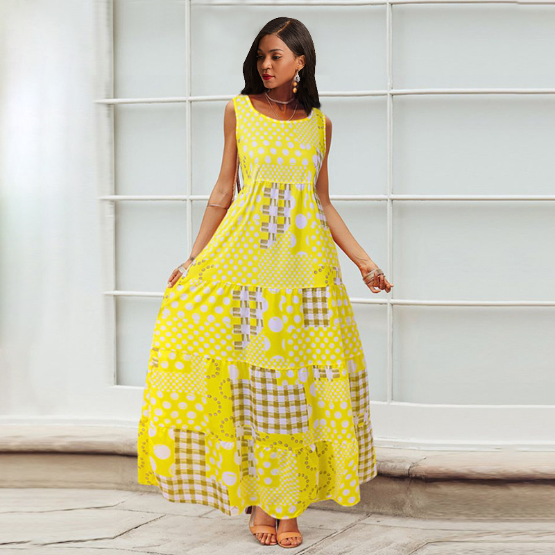 Casual Maxi Dress Women Summer Sleeveless Polka Dot Boho Blue Fashion Holiday Robe Vintage Big Swing Yellow Printed Long Dresses