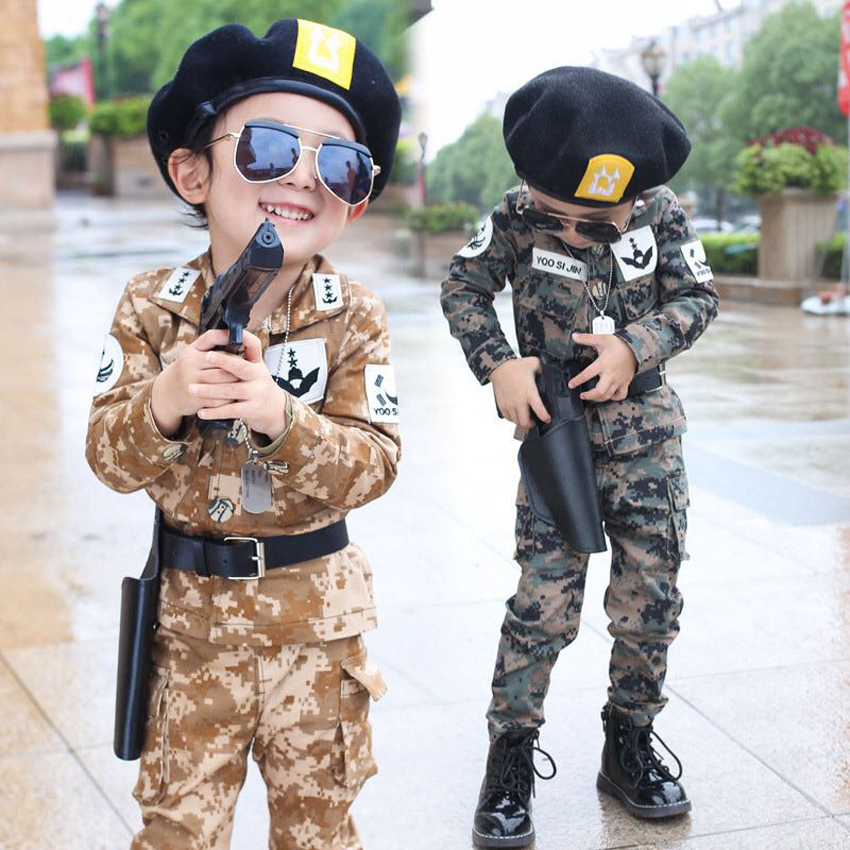 Kids Boys Special Force Costumes Children Military Uniform Full Sleeve Tactical Combat Camouflage Clothing Set Performance