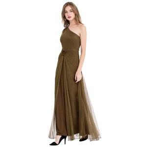 Image 3 - エンジェルファッションワンショルダープリーツシャーリングスパンコールスリットロングイブニングドレス 350 429