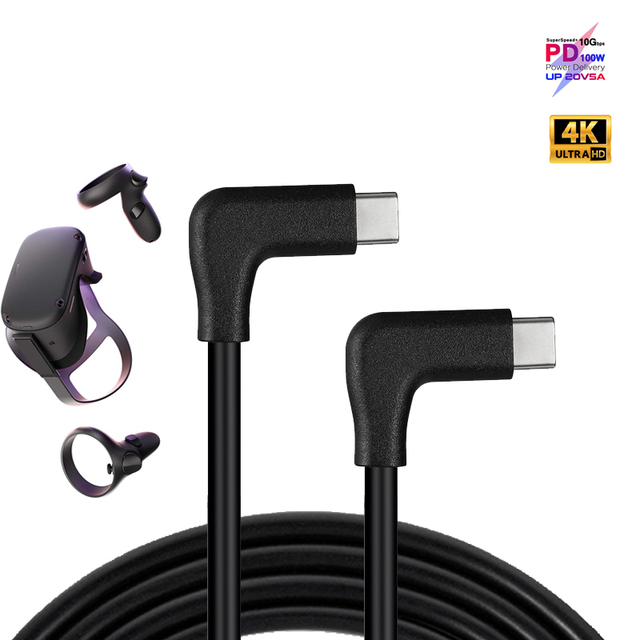 90 Elbow 100W PD 5A 4K @60Hz USB3.1 Gen 2 10Gbps USB-C Fast Charging Data Cable For Macbook Pro Air TV Oculus Quest 1 2 Link  VR