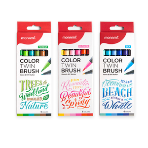 Image 2 - Monami Color Twin Brush Watercolor Brush Pen Double Head Art Markers Sketching Painting Brush Lettering 04038