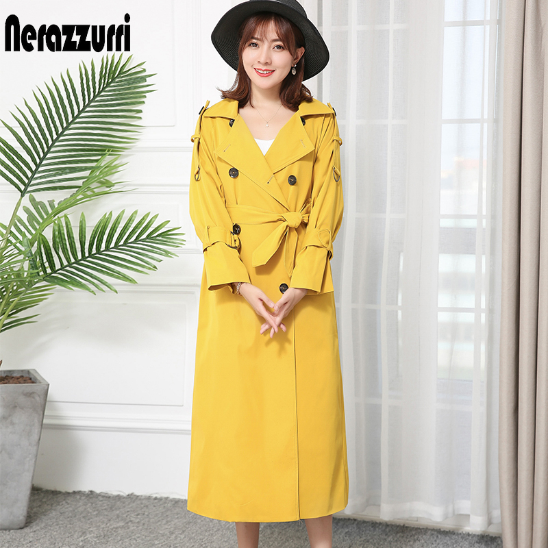 Nerazzurri high quality fashion trench coat for women fall 2019 double breasted warm plus size yellow blue red Khaki long coat(China)