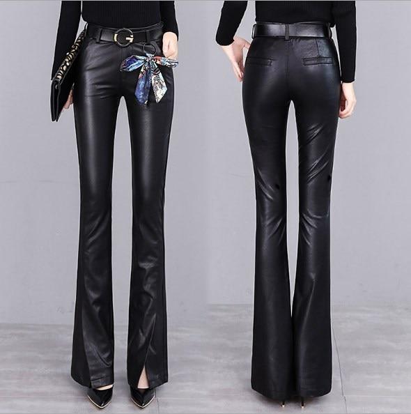 Printemps automne femmes cuir pantalons évasés femmes taille haute pantalon Faux cuir pantalon femmes mode Slim PU Flare pantalon femme