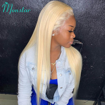 Monstar Full Lace Wig 613 Platinum Blonde Color Brazilian Straight Glueless 8 - 30 inch Full Lace Human Hair Wigs with Baby Hair