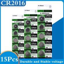 Bateria de lítio 3v cr 2016 da moeda da pilha do relógio lm2016 br2016 baterias do botão de 15 pces para o controle remoto eletrônico do brinquedo