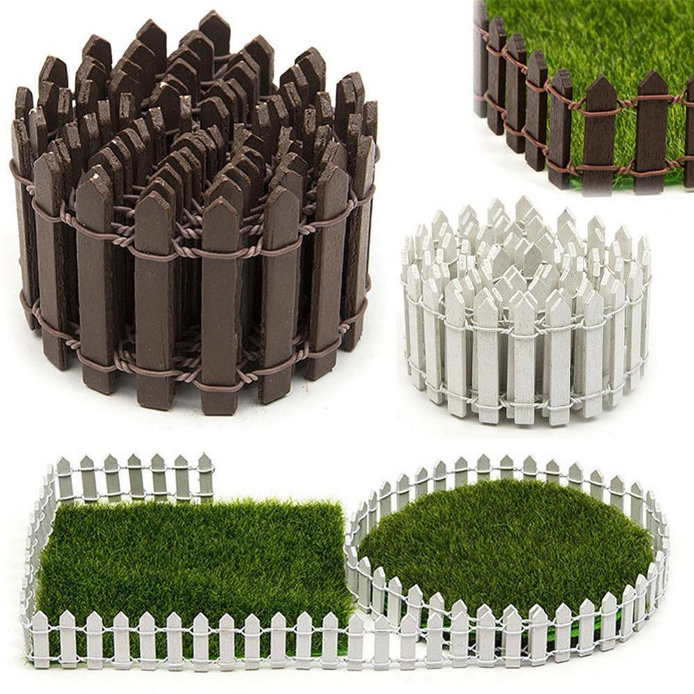 Wood Miniature Garden Fence Decor DIY Fairy Garden Kit Fence Accessories Realistic Shape Hand-painted Building Garden Supplies
