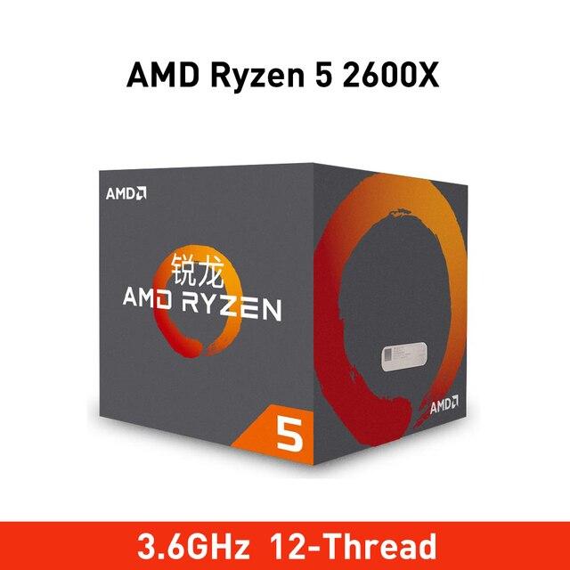 Nieuwe amd ryzen 5 2600x cpu 3.6GHz 6 Core 12 Draad 95W TDP processador Socket am4 desktop met gloednieuw verzegelde doos cooler fan