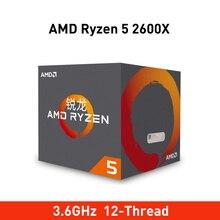 جديد amd ryzen 5 2600x وحدة المعالجة المركزية 3.6GHz 6 النواة 12 موضوع 95W TDP processador المقبس am4 سطح المكتب مع العلامة التجارية جديد صندوق معزول برودة مروحة