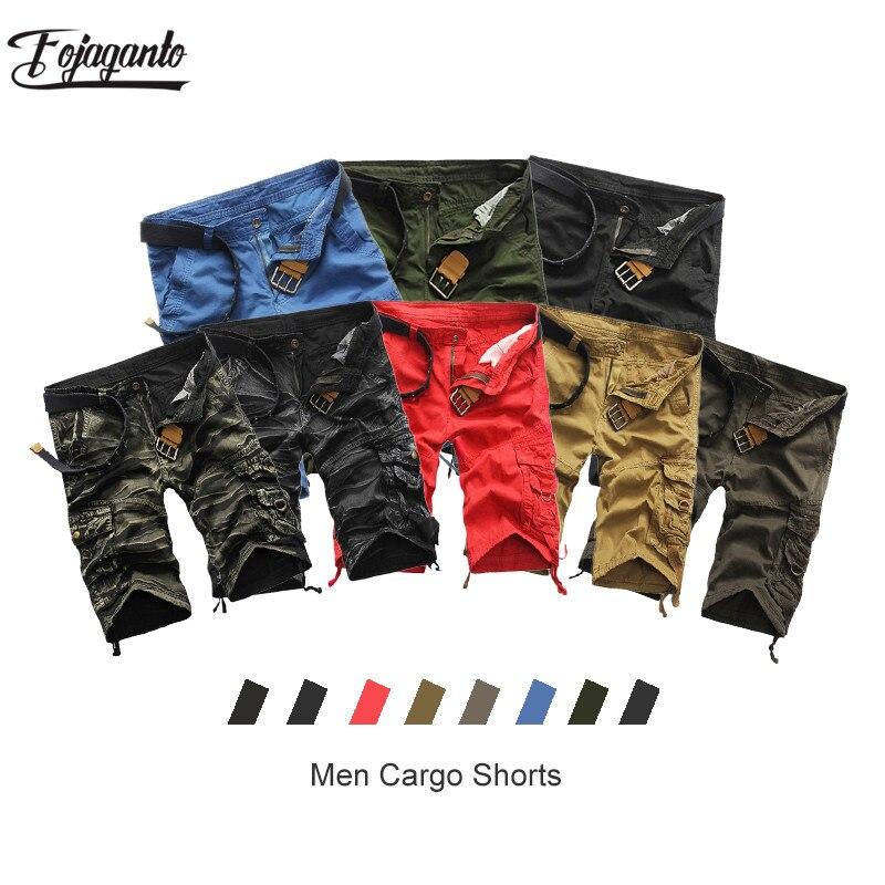 FOJAGANTO Casual Brand Men's Camouflage Shorts Summer New Men Knee Length Shorts Male Fashion Multi-Pocket Cargo Shorts