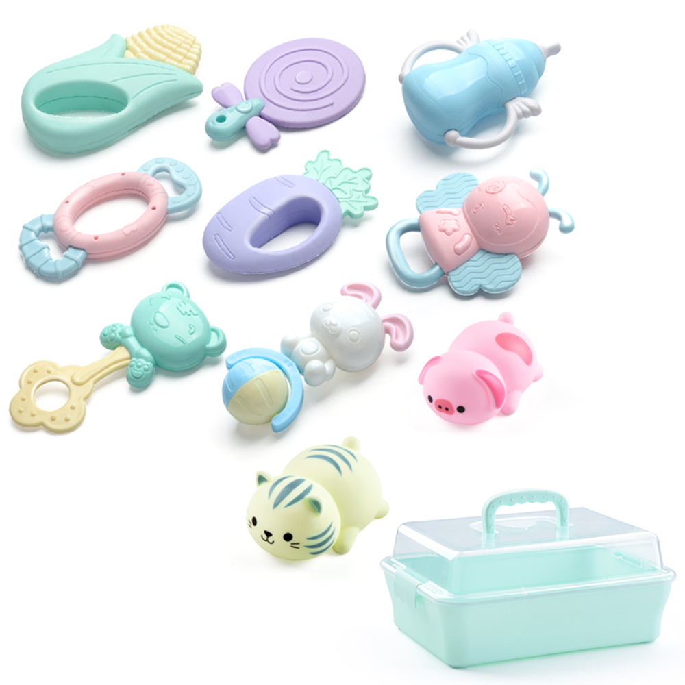 10Pcs ABS Baby Rattles Toys Teether Music Hand Shake Bed Bell Plastic Animal Educational Toys For0-12 Months Newborns