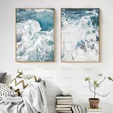 Tela com ondas de paisagens, pintura em tela do oceano nórdica, posteres e impressões, decoração de casa, sala, arte de parede, sem moldura