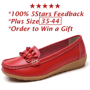 Image 5 - 2020 النساء المتسكعون جلد طبيعي حذاء مسطح الباليه الشقق الانزلاق على الإناث الأخفاف فستان كاجوال البازلاء الأحذية واسعة اضافية