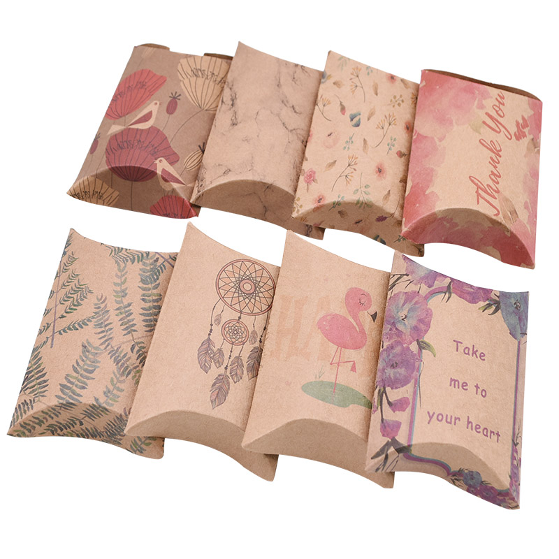 50pcs Gift Box Cute Pillow Shape Candy Bag Kraft Paper Boxes Package DIY Supplies Wedding Party Favor Birthday Xmas Gifts Decor-1