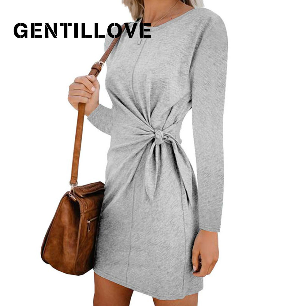 Gentillove Casual Slim Lace Up Bow Mini Dress Cotton Slim Shirt Dresses Women Summer Short Sleeve O Neck T Shirt Dress