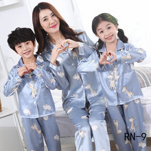 2019 Silk Family Pajamas Sets Autumn Long Sleeve Cute Mom and Daughter Matching Clothes 110-160-144(China)