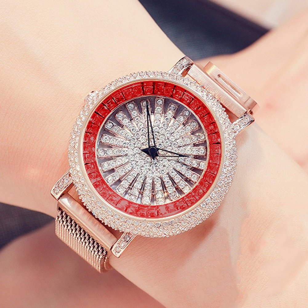 Luxury Full Rhinestone Round Dial Magnetic Alloy Band Women Quartz Wrist Watch New Ladies Dress Watches Gift Luxury