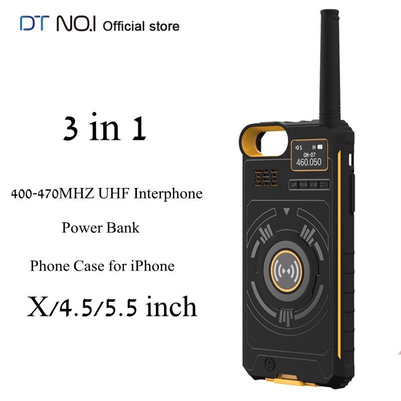 DTNO.I NO.1 IP01 3 In 1 400-470MHZ UHF 5KM Interphone Outdoor Walkie Talkie + 3500mAh Power Bank + Phone Case For IPhone X/6/7/8