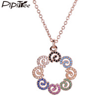 Pipitree Popular Cubic Zirconia Flower Pendant Necklace Geometric Rose Gold Brand Necklaces Maxi Collier Femme Women CZ Jewelry(China)
